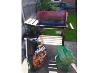 Small BBQ With Free Charcoal And Chopped Wood