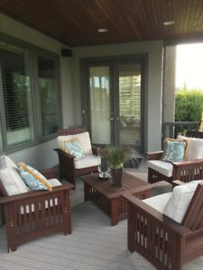 CEDAR OUTDOOR PATIO FURNITURE - NEW CUSHIONS INCLUDED