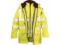 BRAND NEW RIPON 7 IN 1 YELLOW HI VIS WINTER JACKET SIZE EX LARGE WITH BUILT IN BODY WARMER SLEEVED