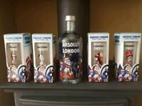 Unopened Absolut London Vodka & 4 Glasses