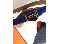 Authentic Hermes Belt - 32mm Reversible Sombrero and Epsom calfskin - Blue/Taupe - Gold Buckle