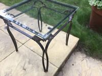 Metal/glass side lamp table