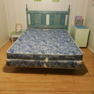 QUEEN MATTRESS AND BOX SPRING BED FRAME AND HEADBOARD  INCLUDED