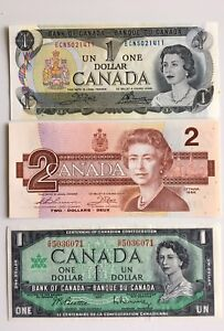 3 1960s-1980s Vintage Canadian Banknotes -UNC- FREE Shipping