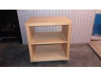 Ikea bedside table / sideboard unit, / hifi stand with wheels and adjustable shelf