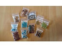 Assorted Craft Items - Ribbons, Cords, Felt, Embroidery thread, Glass/Metal/wood Beads, Small Boxes