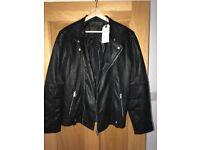 Black Leather Jacket - size large - BNWT designer jack jones