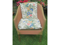 LLOYD LOOM STYLE BASKET WEAVE BEDROOM CHAIR WITH VINTAGE COTTON CUSHIONS