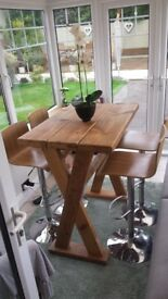Uniquely Hand Made Tall Table with 4 Bar Stools