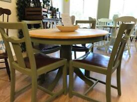 Lovely refurbished dining room table and chairs