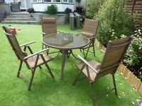 4 SEATER GARDEN PATIO SET WITH TABLE COLOUR BROWN
