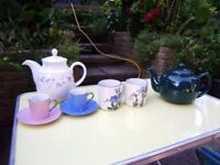 Variety of crockery, teapots, 6 soup bowls, dinner plates, cups, mugs, vases