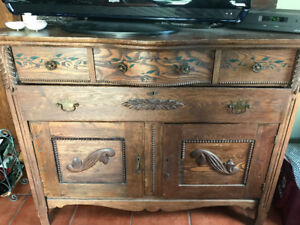 Antique table and hutch