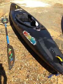 Kayak (Pyranha)and paddle with optional extra bits and pieces