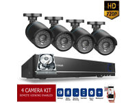 8 channel HD CCTV Security Camera Kit. 4 x HD Cameras , HD DVR with Hard Drive, Cables, Full Kit