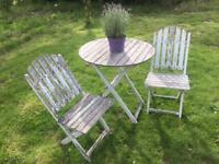 Wooden table and 2 chairs garden set. Beautifully weathered