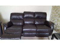 Sofa settee DFS: Novona Leather 3 Seater & Novona 2 Seater Manual Recliners in Excellent condition