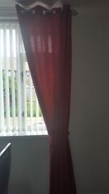 Pair of deep red curtains eyelet top 66 x90