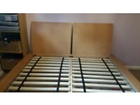 REDUCED modern contemporary beech wood bedframe for sale; NO mattresses