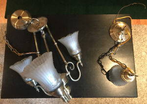 Three bulb chandelier and one bulb hanging lamp