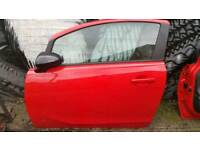 Corsa D ns door complete in red with mirror