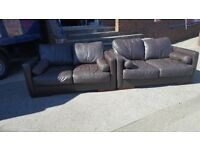 2x2 brown real leather sofa for sale - CAN DELIVER WANT GONE ASAP