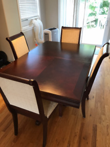 7 Piece Hardwood Dining Set with Table Extension