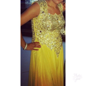 Yellow indian one peice gown