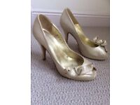 "LK Bennett Gold Leather Shoes. Peep Toes. Size 4, (37) 3 3/4"" heel. Low platform"