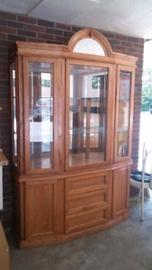 House hold items. China cabinet and coffee and end table