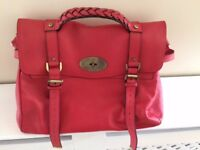 RED/PINK MULBERRY GENUINE LEATHER HAND BAG
