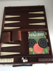 LIKE NEW CASE BACKGAMMON GAME WITH COLOR BOOKLET