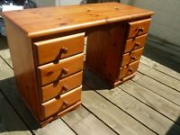Thick Solid Pine Pedestal Desk with 8 drawers