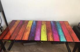Colourful glass coffee table