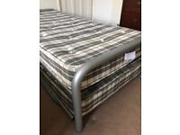 Metal frame twin single beds (folding trundle style) with mattresses - excellent condition
