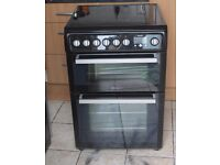 6 MONTHS WARRANTY Blacvk/ silver Hotpoint 60cm, double oven electric cooker FREE DELIVERY
