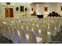 Wedding Chair Covers for Hire 50 for £100 inc sashes and set up, lots of other decor also available