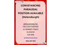 Conveyancing Paralegal Required - Helensburgh