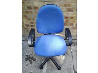 Blue material office chair with arm rests