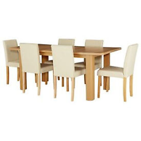 Shenley Oak Veneer Extendable Table & 6 Cream Chairs