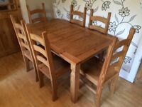 LARGE PINE TABLE WITH 6 CHAIRS