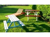3 pieces garden furniture set for sale, picnic tables and sunbed