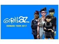 4x Gorillaz standing tickets, Manchester Arena, Friday 1st December 2017