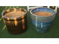 Two Ceramic glazed large plant pots for sale £15 each