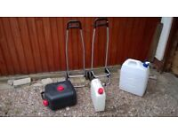 Clean and Waste water carriers plus trolleys