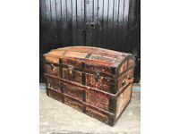 19th Century Cane Bound Domed Steamer Sea Trunk - ANTIQUE