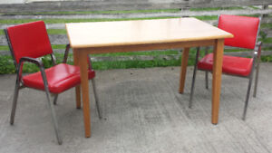 Solid Wood Light Color Dinner Table & Retro Chairs - CAN DELIVER