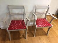 Shabby chic grey and red kitchen chairs pair