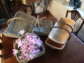 2 Quality large wooden trugs and 4 grey wicker baskets + fake flowers - decorative/wedding/home