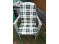 WATERPROOF OUTDOOR CHAIR BACK/SEAT PAD CUSHIONS X 4 -GREEN/CREAM/BEIGE CHECKED